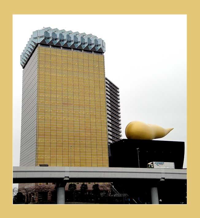 Die Asahi Brauerei in Tokio hat eine Bierglasform