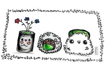 Drei Sushi-Cartoonfiguren als Aufmacher für den Tokio Beitrag