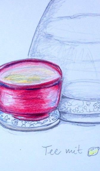 Japanische Teeschale, Skizze