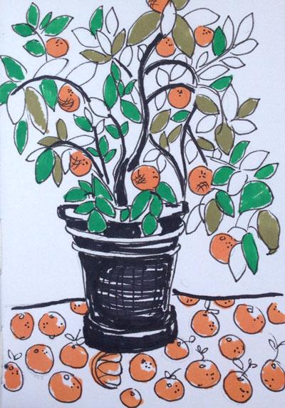 Skizze eines Orangenbaums im Blumentopf: Zeichenaufgabe im Kreativkurs 28toMake