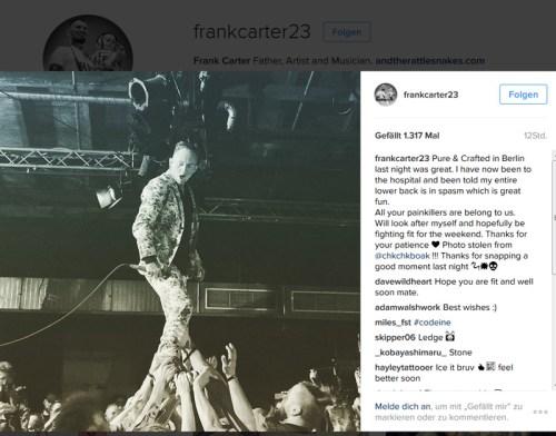 Frank Carter klagt bei Instagram über Verletzungen, Bild von Beste Blog geklaut