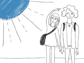 zwei Mädchen von Sonne geblendet Illustartion
