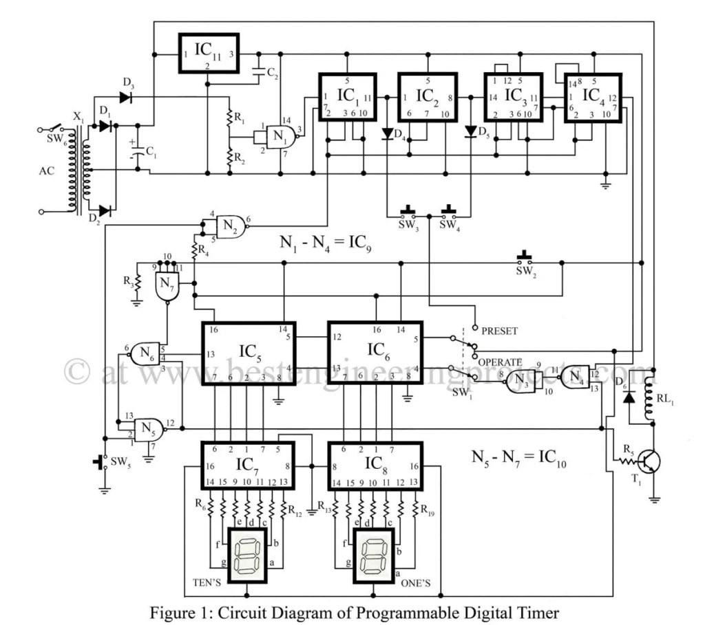 circuit diagram programmable digital timer