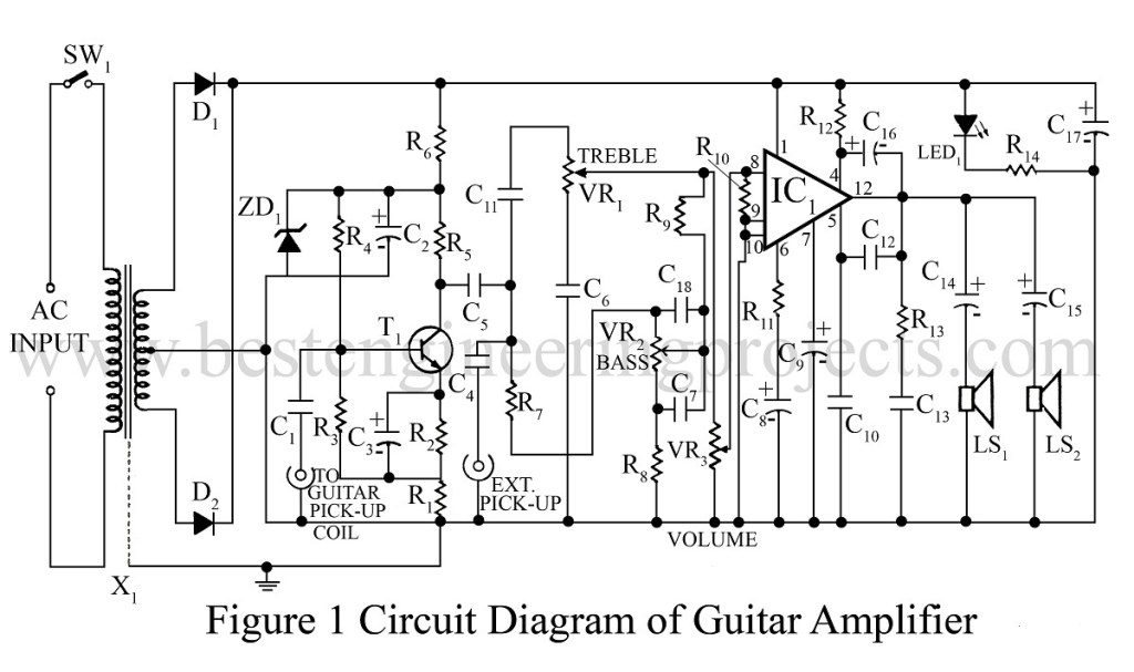 Circuit Diagram of Guitar Amplifier