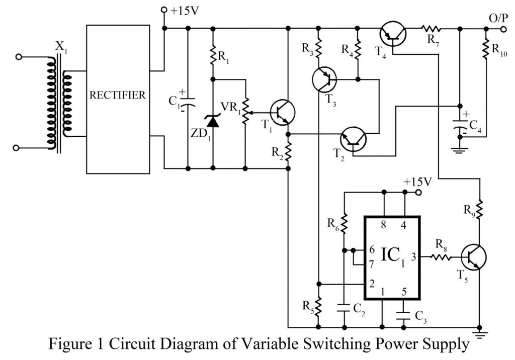 circuit diagram of variable switching power supply