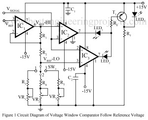 circuit diagram voltage window comparator follow reference voltage
