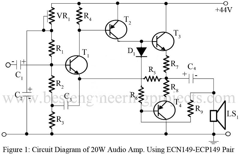 20w audio amp using ecn149 and ecp149 pair