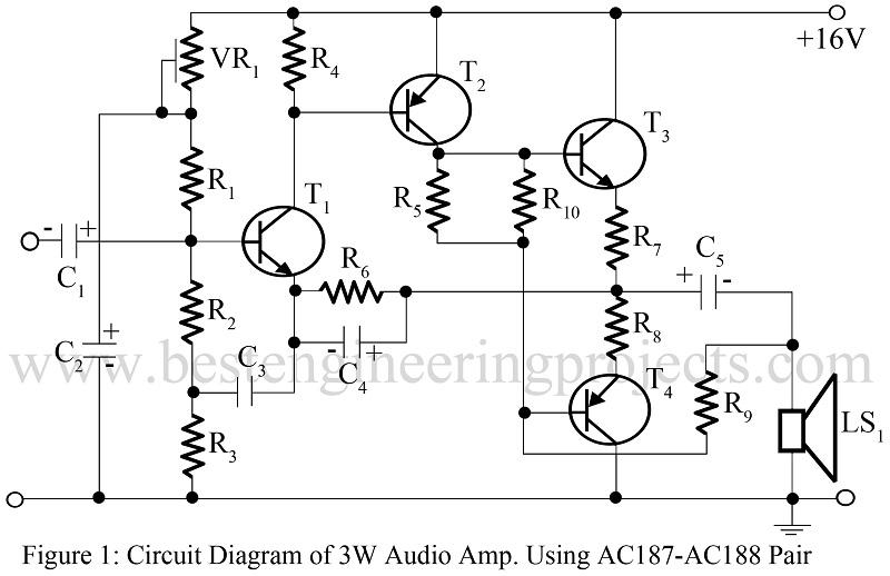 3w audio amp using ac187 and ac188 pair