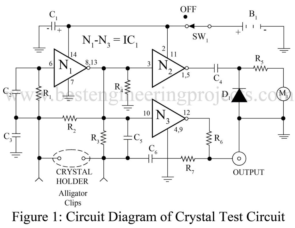 circuit diagram of cristal test circuit