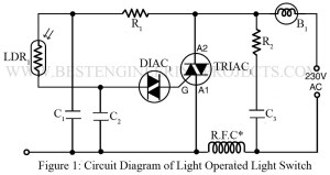 circuit diagram of light operated on off switch without ic