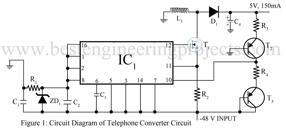 circuit diagram of telephone converter circuit