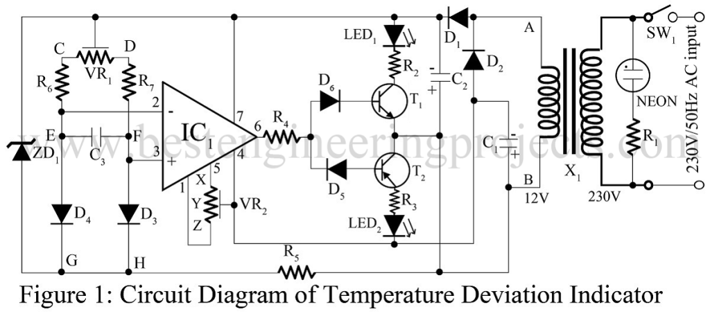 temperature deviation indicator circuit using 741