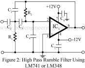 high pass filter or rumble filter using LM741 or LM348