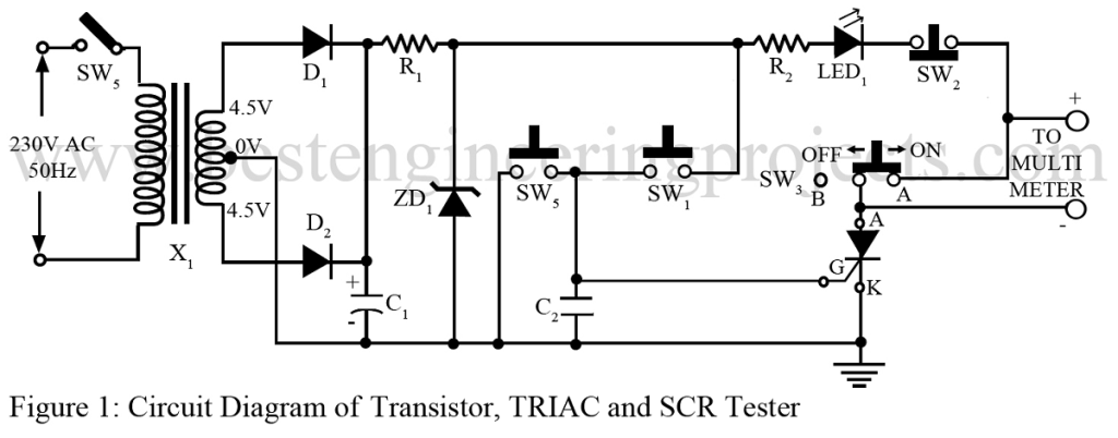 transistor, triac and scr tester circuit
