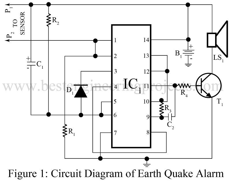 earth quake alarm using cd4011