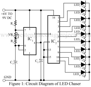 Timer Ic 555 And 556 Based Projectson Water Level Alarm Circuit