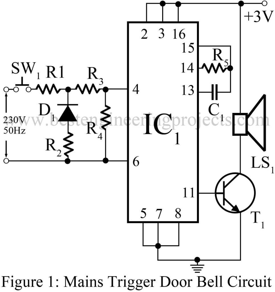mains trigger musical door bell circuit