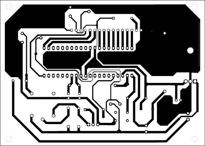 solder side pcb of Microcontroller Based Solar Charger