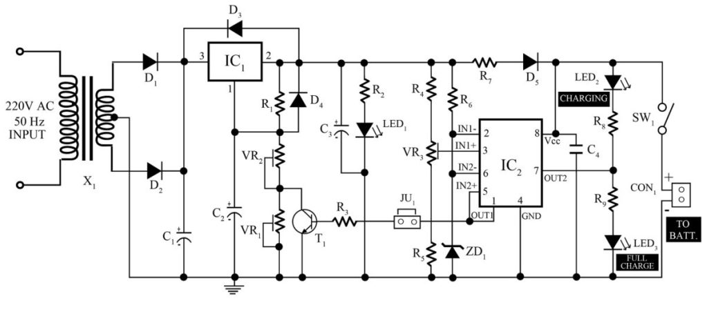12v  7ah smart battery charger with pcb diagram