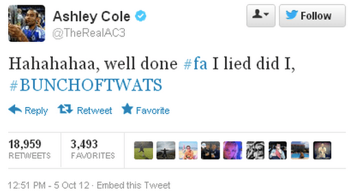 Ashley Cole angry with the FA
