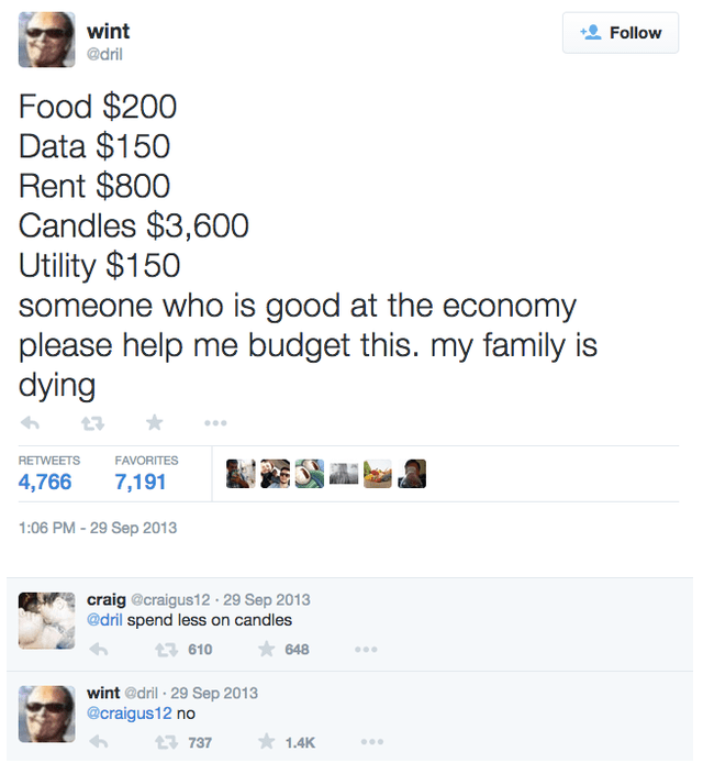 Candle tweet budgeting family