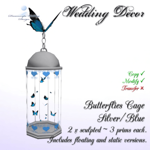 Butterflies Cage - Silver_Blue - 3 prims