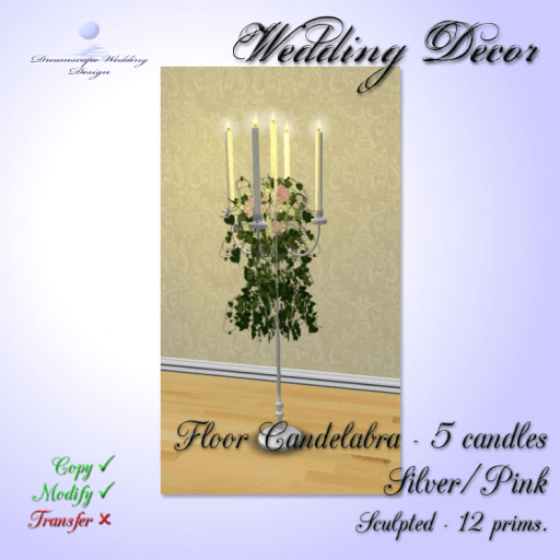 Candles - Floor Candelabra 5 - silver-pink - 12 prims