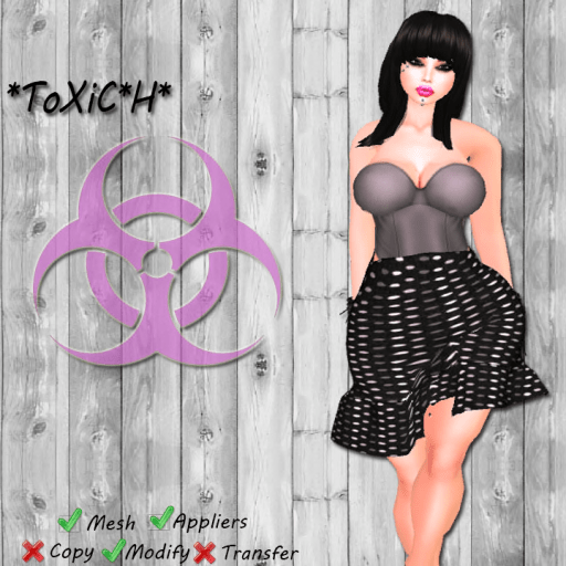 _ToXiC_H_ Bell Skirt Outfit Pokie Dot Black