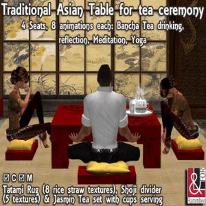 J 06) Traditional Asian Table Set for Tea Ceremony PIC