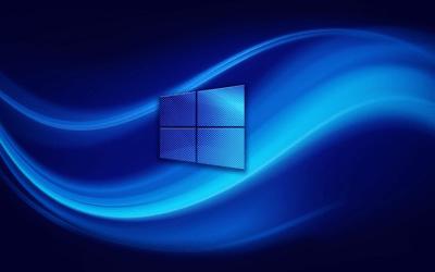 Descargar fondos de pantalla 4k, Windows 10, el logotipo, el resumen de las ondas, fondo azul ...