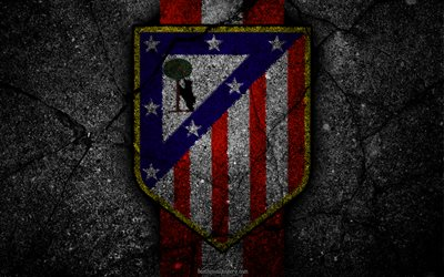 Download wallpapers Atletico Madrid, logo, art, La Liga, soccer, football club, LaLiga, grunge ...