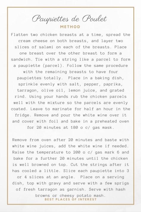 Paupiettes de Poulet- Method- Tarragon recipes