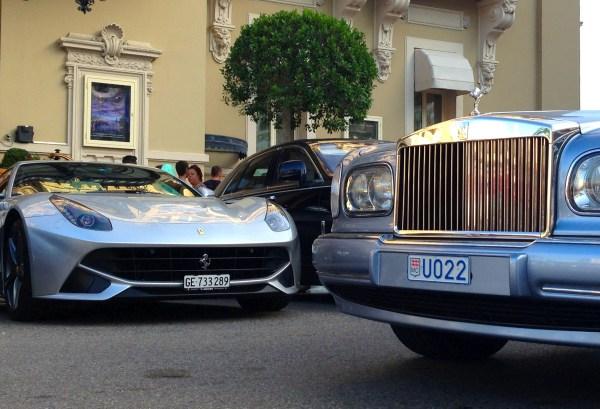 Ferrari F12 Berlinetta Rolls Royce Corniche Monaco August 2013