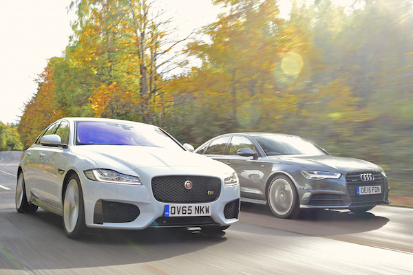 Jaguar XF Audi A6 UK March 2016. Picture courtesy autoexpress.co.uk