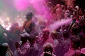 The throwing color festival – India