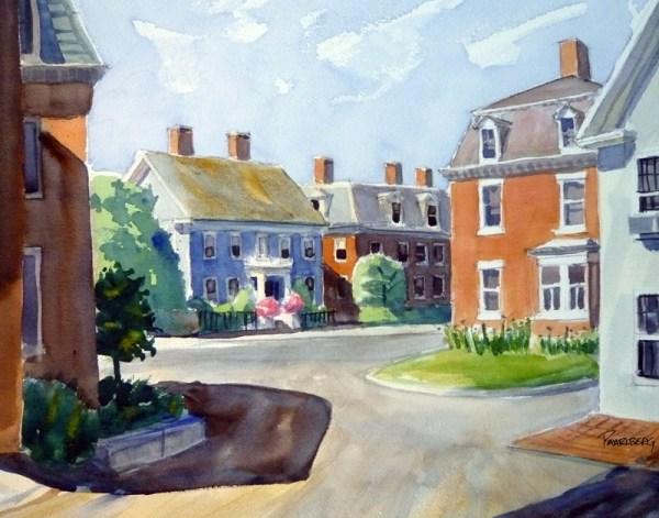 Washington, Howard and Pleasant Streets watercolor