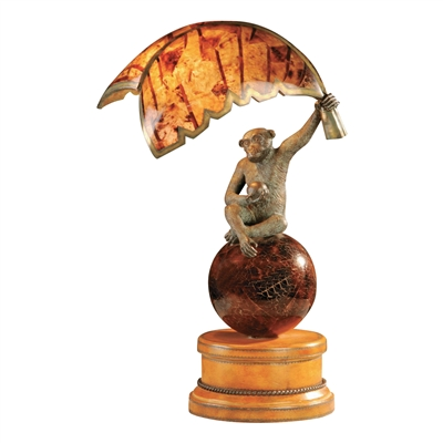 Verdigris Patina Brass Monkey & Penshell Banana Leaf Lamp