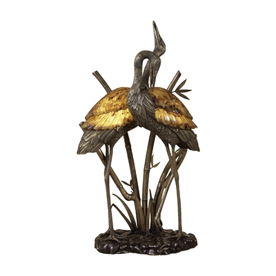 Antique Brass & Dark Bronze Highlighted Cranes Lamp