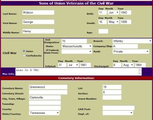 Sons of the Union Veterans National Grave Site Database - George Watson