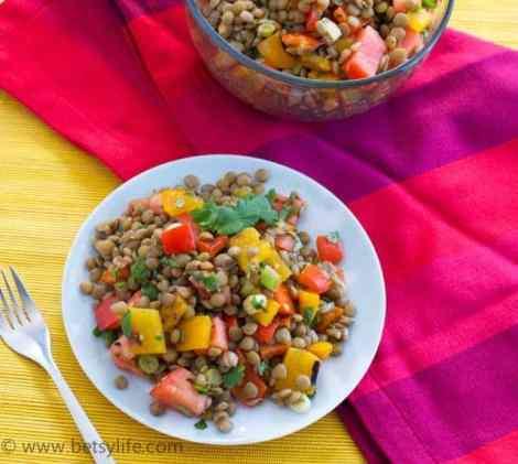 Lentil-salad-serving