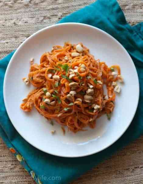 Raw Carrot Pasta with Peanut Sauce
