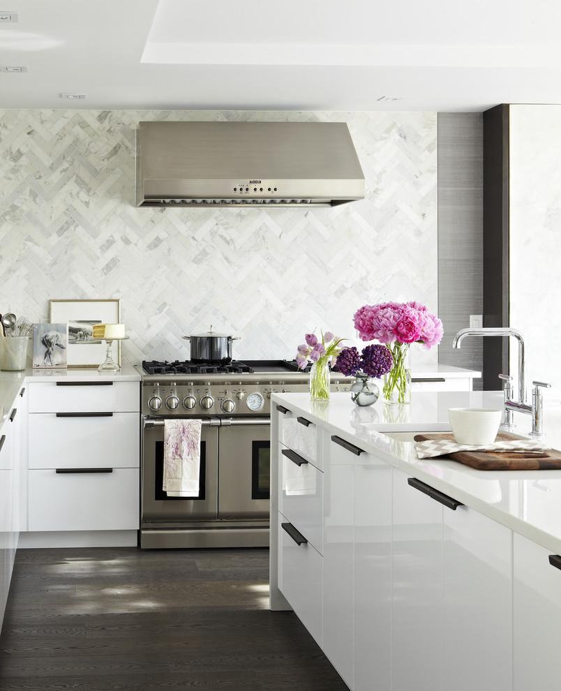 white backsplash marble countertops glass subway tiles how to custom interior decor design better decorating bible blog contemporary kitchen