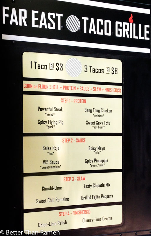 far east taco grille food truck menu