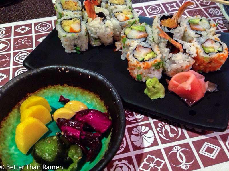 sakana dc review sushi crunchy shrimp roll crunchy california roll japanese pickles sushi dupont circle