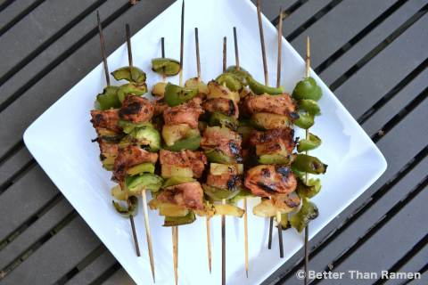 Ketchung Kabobs Recipe via BetterThanRamen.net kebab skewers summer bbq chicken pineapple pepper kabobs grill