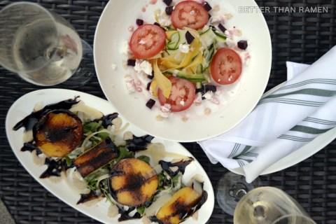 bar pastoral seasonal prix fixe menu charred peach salad shaved summer squash salad