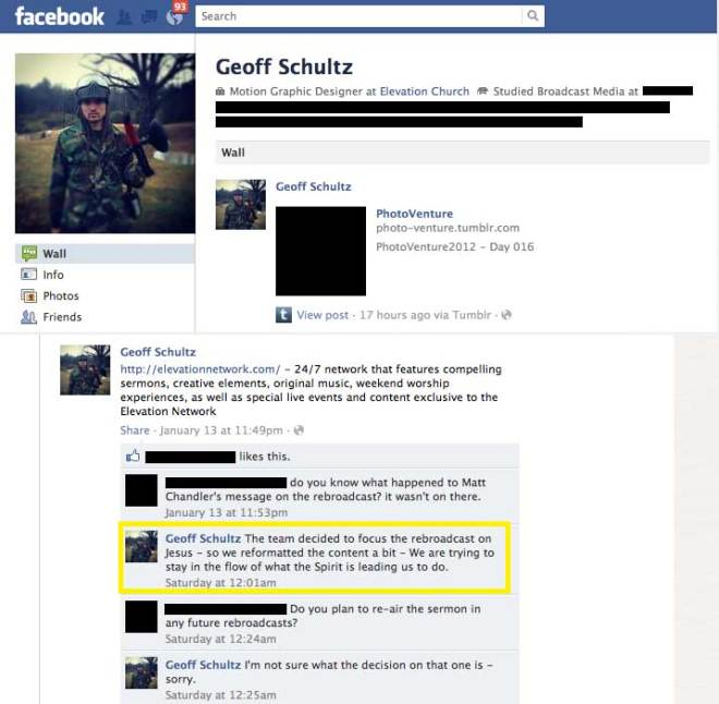 Screenshot of Schultz' Facebook wall