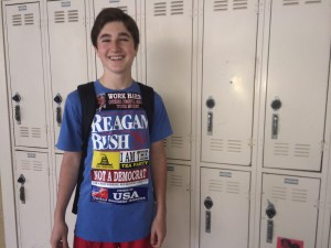 """Senior Jack Stone gets political for Halloween by dressing up as a """"republican."""" He's actively involved and interested in politics and the upcoming elections."""