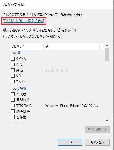 可能なすべてのプロパティを削除してコピーを作成 を選択してOKを押す