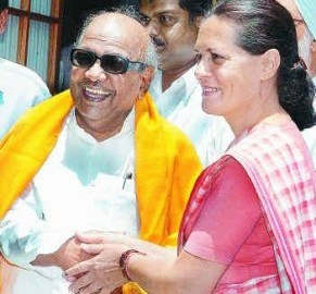 UPA Chairperson Sonia Gandhi greeting DMK Chief M Karunanidhi
